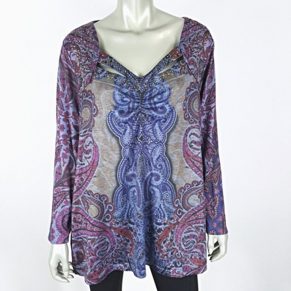 a8a7601944f live and let live Tops | Plus Size 2x Blue Paisley Long Sleeve Knit ...